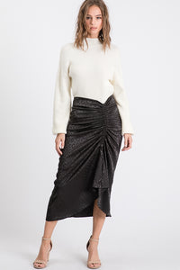 Camille, Animal Print Rouched Front Midi Skirt