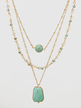 Load image into Gallery viewer, Natural Stone Geometric Shape Beads Layered Necklace