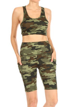 Load image into Gallery viewer, Camouflage Active Sports Bra and Shorts Set w/Pockets