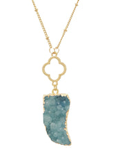 Load image into Gallery viewer, Stylish LeNese Antler Horn Tusk  Genuine Druzy Pendant Necklace