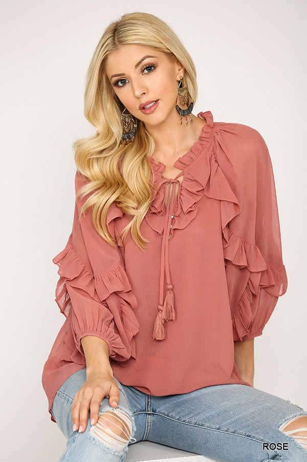 Lucia, Ruffle Detailed Feminine Blouse with Front Tassel Woven Top