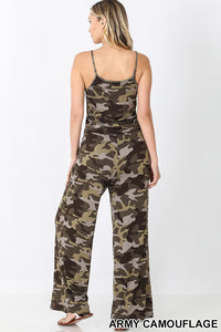 Catania, One Piece Camouflage Spaghetti Strap Jumpsuit with Pockets
