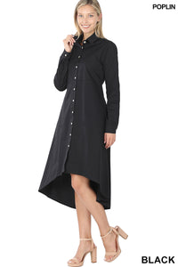 Ayanna, Long Sleeve Poplin Hi-Low Shirt Maxi Dress