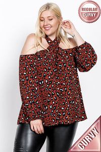 Adele, Animal Print Cold Shoulder Blouse - Plus