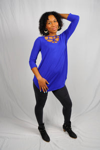 Amina,  3/4 Sleeve Web Neck Detail Tunic Top