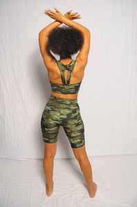 Camouflage Active Sports Bra and Shorts Set w/Pockets