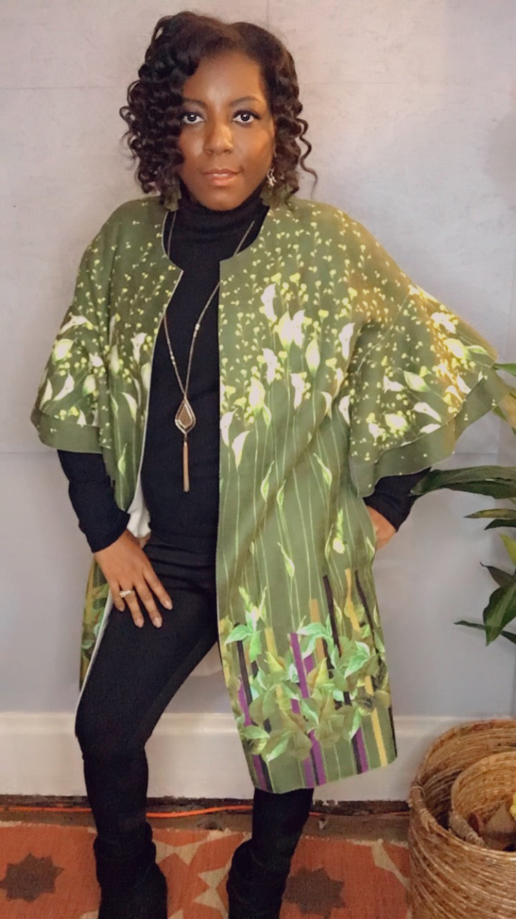Faux Suede Printed Long Jacket with Pockets