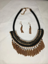 Load image into Gallery viewer, Fringe Chain Statement Necklace and Earring Jewelry Set