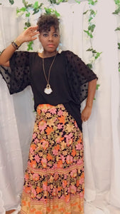 Belize, Maxi Floral Tiered  Skirt - Sm-2X