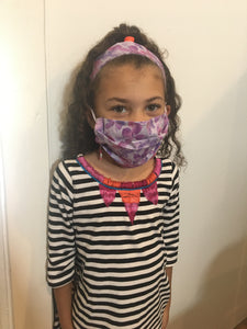 Kids 3- Piece Headband, holder and Cotton Face Mask Set