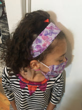 Load image into Gallery viewer, Kids 3- Piece Headband, holder and Cotton Face Mask Set