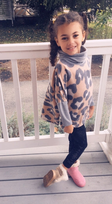 Mommy and Me, Animal Print Cowl Neck Poncho- KIDS