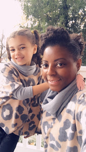 Mommy and Me, Animal Print Cowl Neck Poncho