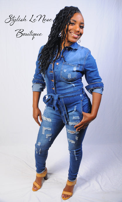 Annalisa, Denim Distress Jumpsuit