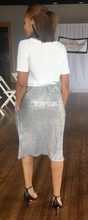 Load image into Gallery viewer, Cynthia, Pleated Gold Foil Midi Skirt