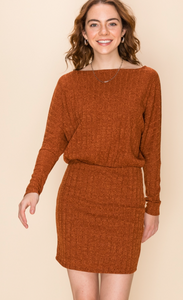 Renee, Long Dolman Sleeve Rib Mini Dress