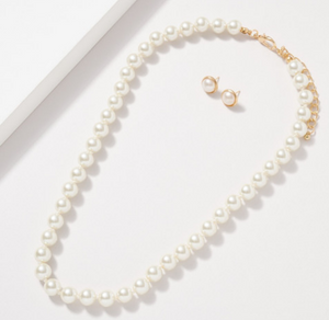 Glass Pearl 10MM Knot Thread Necklace and Earring Set