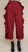 Load image into Gallery viewer, Lee, Cropped Ruffle Trouser Pants