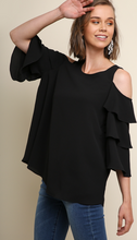 Load image into Gallery viewer, Naomi, Tiered Ruffle Sleeve Open Shoulder Back Keyhole Blouse