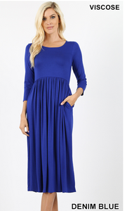 Bellana, 3/4 Sleeve Gathered Waist Midi Dress