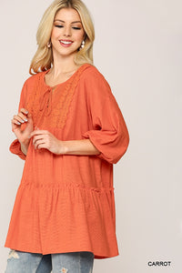 Kitts, Front Lace Trim w/ Tassel Tie Slub Woven Tunic Top