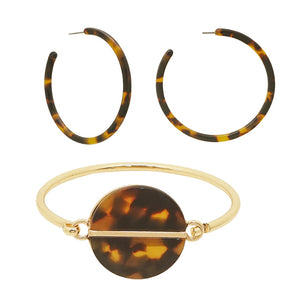 Stylish LeNese Acetate Round Hook Clasp Bangle Bracelet and Acetate Earring Jewelry Set