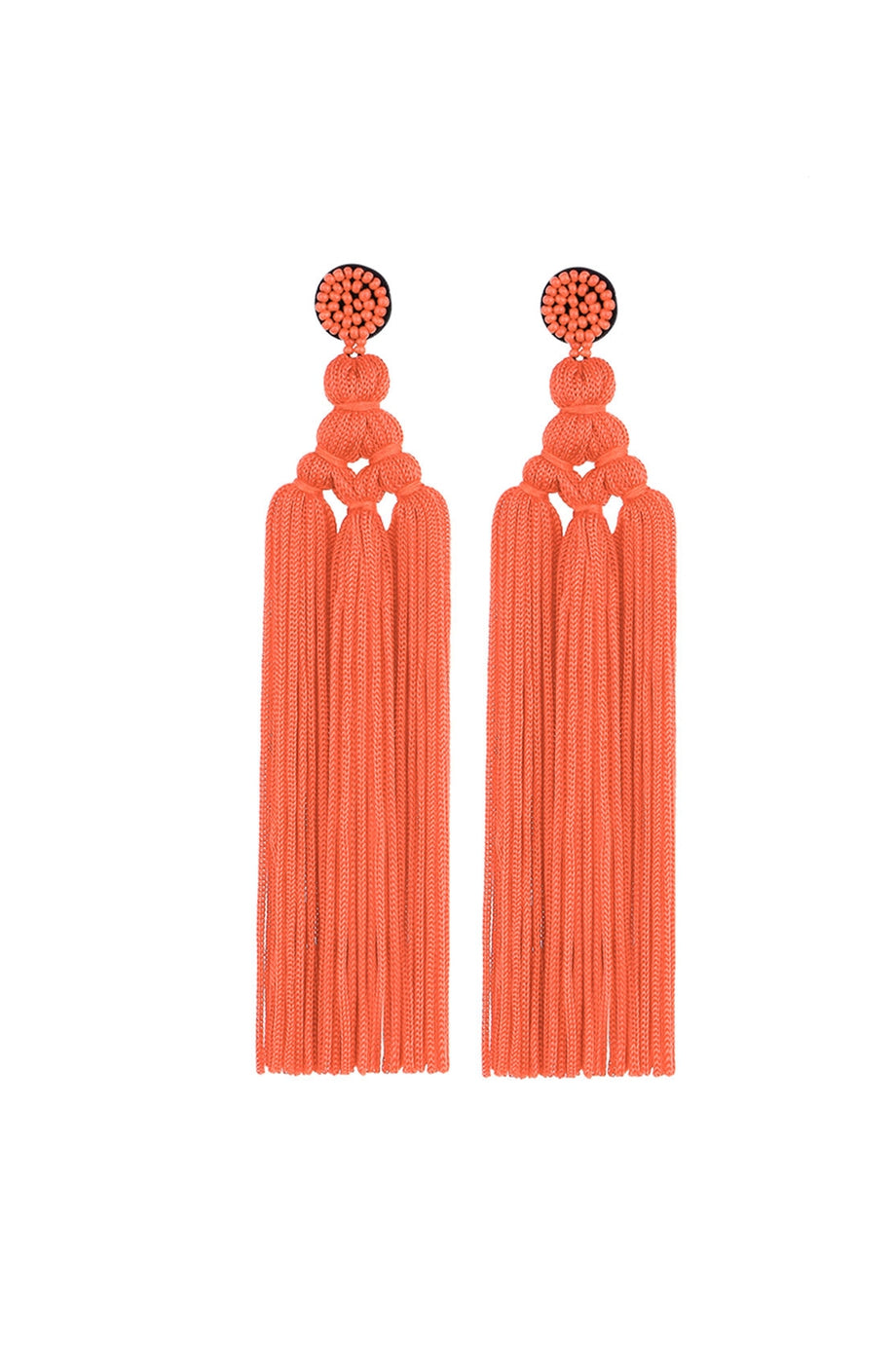 3 Knot Long Thread Tassel Pierced Earrings