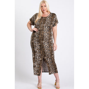 Essence, Short Sleeve Animal Print Maxi Dress -Plus