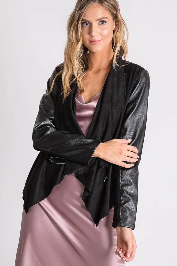 Minnie, Drape Collar Leatherette and Faux Suede Jacket