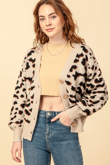 Leopard Cardigan, Long Sleeve Button Front Sweater Cardigan