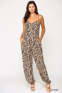 Alena, One Piece Leopard Print Jumpsuit with pockets