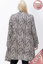 Load image into Gallery viewer, Marissa, Animal Print Drape Front Roll Sleeve Jacket - Plus