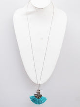 Load image into Gallery viewer, Fan Shape Thread Tassels Hammered Metal Pendant Necklace and Earrings Set