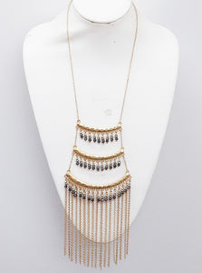 Stylish LeNese Glass Beads and Antique Gold Metal Tassel Necklace Jewelry Set
