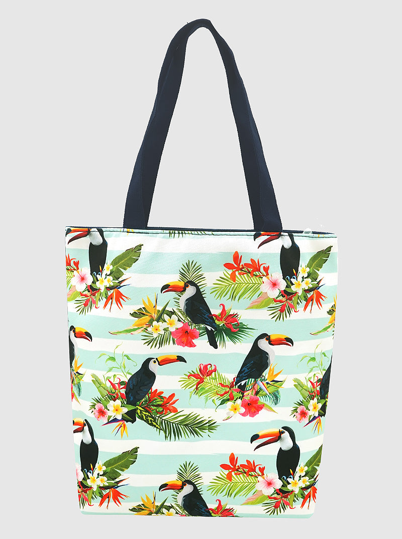 Tropical Tote Bag with handle and zipper closure