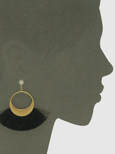 Load image into Gallery viewer, Textured Metal Thread Fan Tassel Drop Gold Tone  Earrings