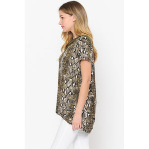 Canton, Cross Neck Short Sleeve Luxe Knit Tunic