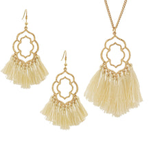 Load image into Gallery viewer, Stylish LeNese Ornate Shape Thread Tassels Pendant Long Gold Tone Necklace and Earring Set (Black)