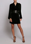 Alexa Chung Black Twilight Velvet Kimono Dress
