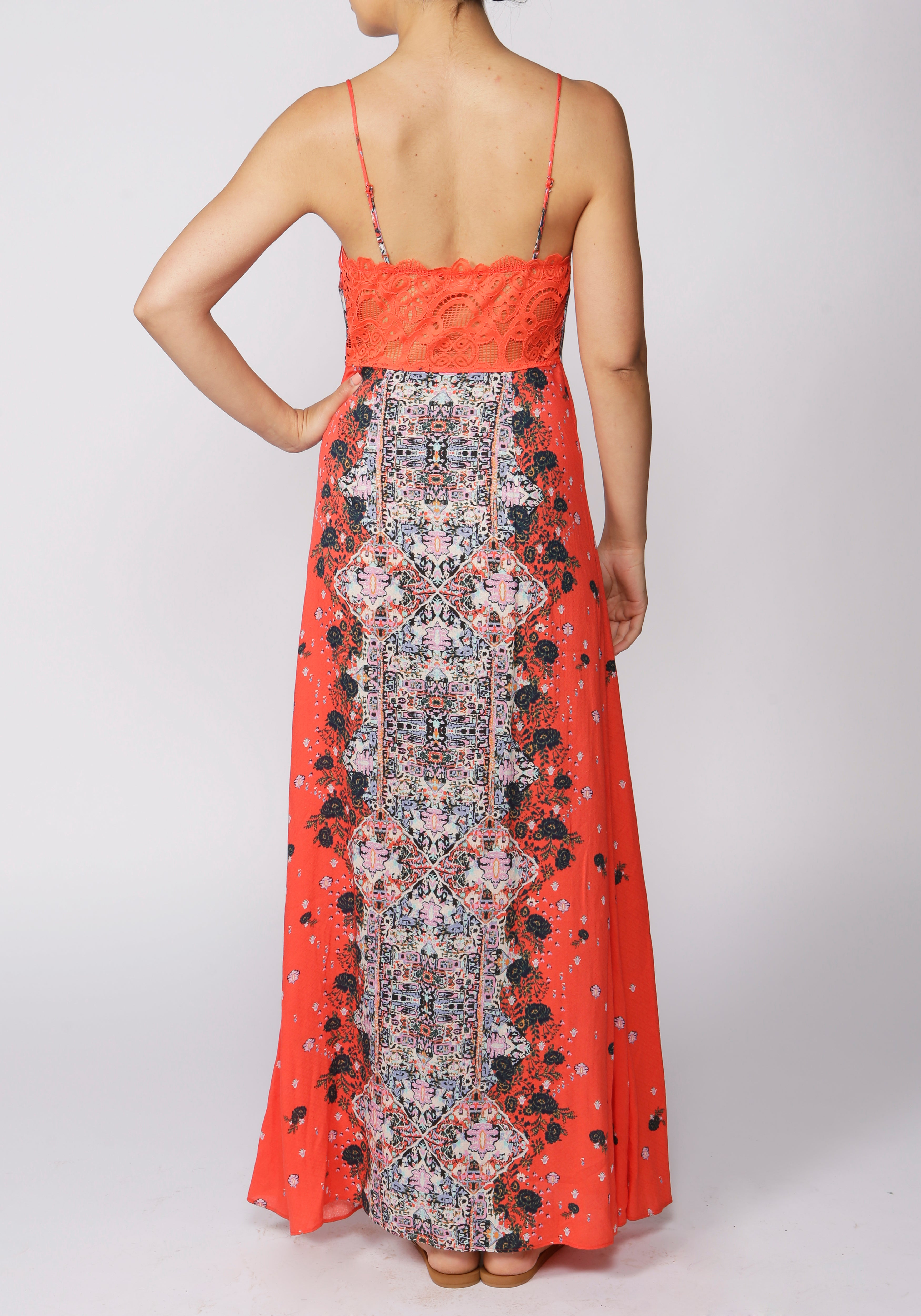 Free People Morning Song Red Printed Maxi Dress