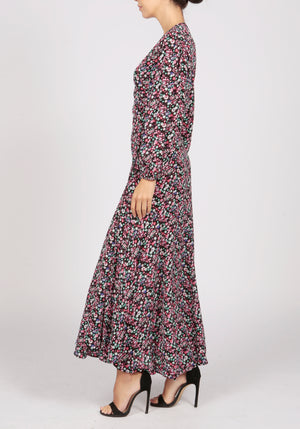Essentiel Antwerp Black Floral Print Wrap Dress