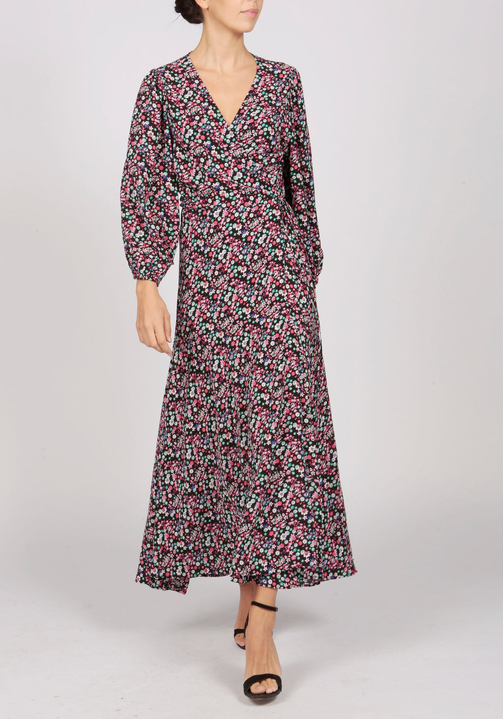 Essentiel Antwerp Black Floral Print Wrap Dress - RRP £270