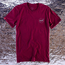 Load image into Gallery viewer, HABITAT SKATEBOARDS - NASA SILVER FOIL MEATBALL LOGO TEE - BURGUNDY