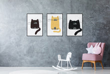 Load image into Gallery viewer, Black Fat Cats - set of 3