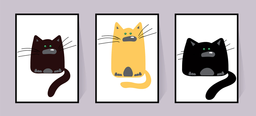 Black Fat Cats - set of 3