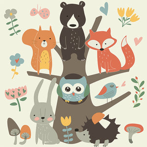 Animal tree party wall sticker