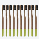 10-pack of 100% eco-friendly, biodegradable bamboo toothbrushes with soft black bristles and color-coded with bright neon greenish yellow detailing at the bottom