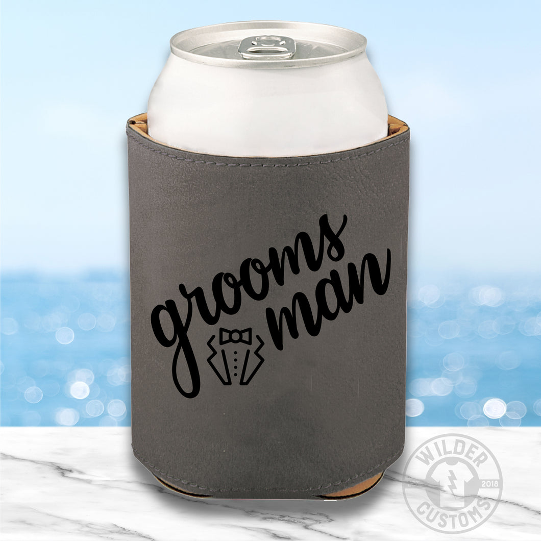 Groomsman Leather Koozie