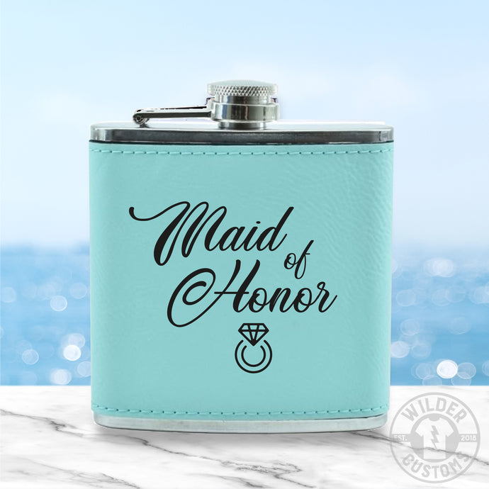 Maid of Honor Leather Flask
