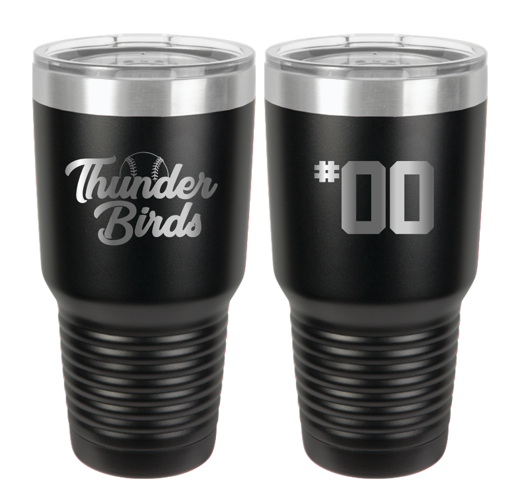 Tbirds Stainless Steel Tumbler- black
